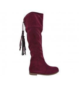 Μπότες flat Sedici με κρόσσια  bordeux suede (Z2391-P488)
