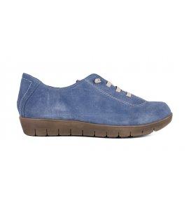 Sneakers Pyramis δερμάτινα  μελί-τζην ( 6230/2050)