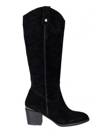 Δερμάτινες μπότες Carmela black suede (67058)